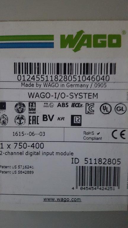 WAGO 750-400 2-Kanal Digital Eingangsklemme..